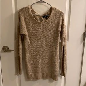 Mossimo cream and gold knit key hole sweater